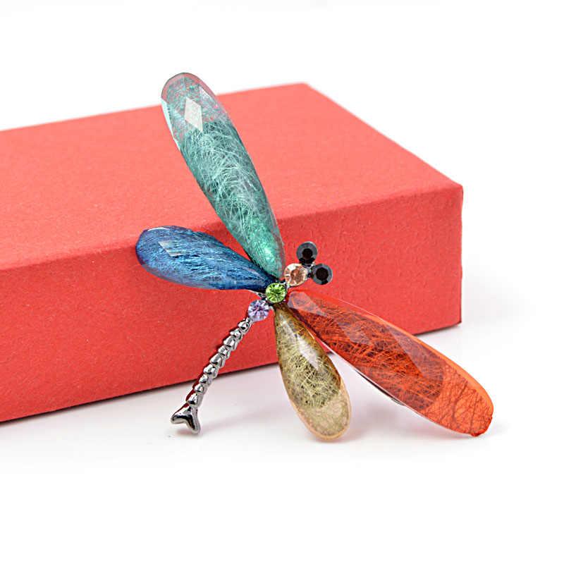Cindy Xiang Baru Fashion Multi-Warna Dragonfly Bros untuk Wanita Warna Pelangi Musim Panas Gaya Pin Bros Resin Bahan Baik hadiah