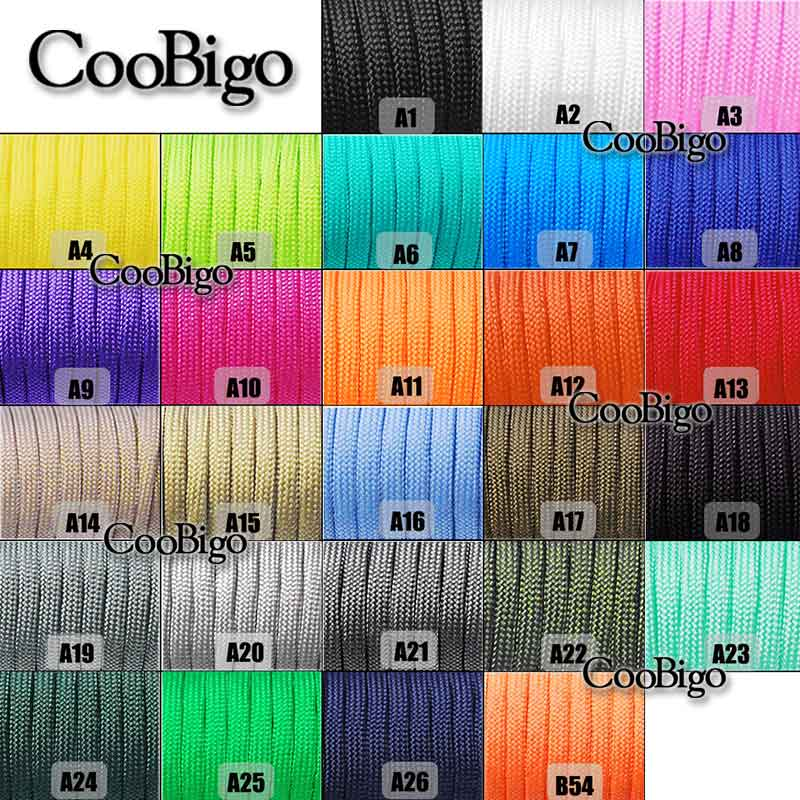 9 Colours x 10 ft Paracord Bracelet Rope Rainbow Color Black and White Parachute 7 Strand Nylon Cord Survival Rope Parachute Cord for Camping Hiking Travelling Braided Bracelet Keychain Lanyard