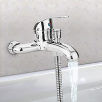 Basin Faucets Zinc Alloy Chrome Wall Mounted Hot Cold Water Dual Spout Mixer Tap Faucet Bath