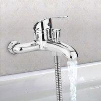 Basin Faucets Zinc Alloy Chrome Wall Mounted Hot Cold Water Dual Spout Mixer Tap Faucet Bath