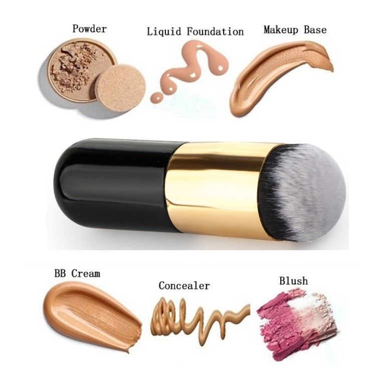 Professional Makeup Brushes Explosion Model Chubby Pier Foundation Brush Flat The Portable BB Cream Make Up Brush Beauty Tools Gold+Black - intl