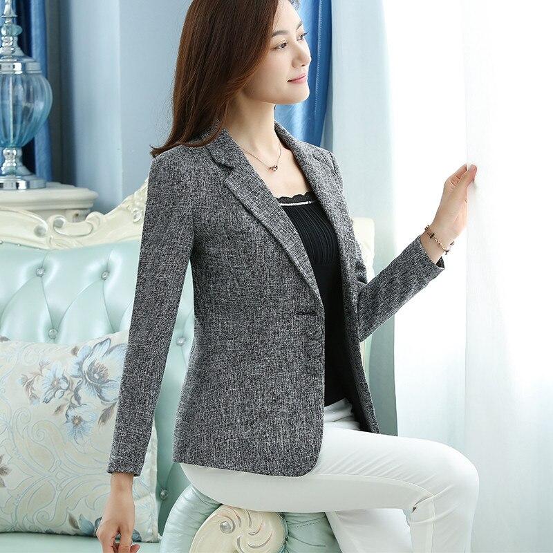 6XL 2019 Spring Autumn Women Solid Work Blazers OL Slim Elegant Jackets Coats Female One Button Blazer Suit Large Size 5XL X864
