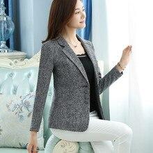 6XL 2020 Spring Autumn Women Solid Work Blazers OL Slim Elegant Jackets Coats Fe