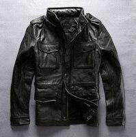 Фабрика 2018 новый мужские черные из натуральной коровьей кожи куртка Повседневное длинные Стиль M65 мульти карман куртки из коровьей кожи рус