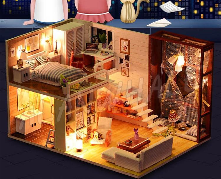 Miniatuur poppenhuis moderne stad kamer diy unisex houten poppenhuis