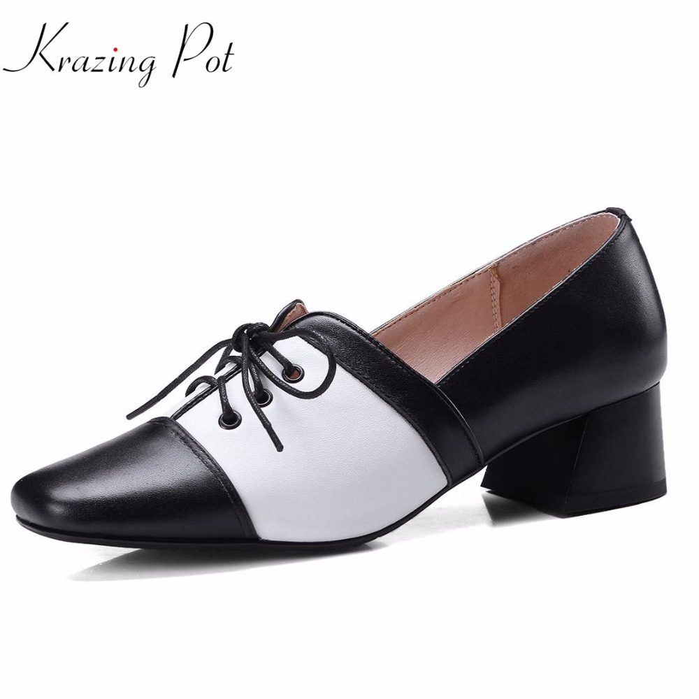 Krazing pot fashion women brand shoes med heels genuine leather lace up women pumps office lady high street fashion shoes L8f5 krazing pot fashion brand shoes genuine leather slip on pointed toe concise lazy style strange high heels women cozy pumps l73