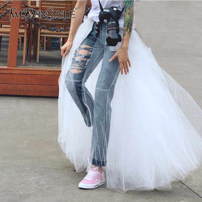 TWOTWINSTYLE Patchwork Mesh Denim Pencil Pants Female Ripped High Waist Vintage Jeans Trousers Women Casual Clothes 2018 Autumn
