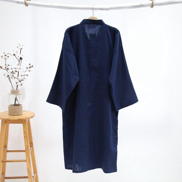 Puro preto quimono roupões de banho dos homens 100% gaze algodão simples nightwear verão spa roupas quimono japonês masculino roupões pijama hombre