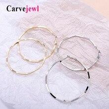 Carvejewl 62 70 mm hoop earrings metal flat waved for women jewelry girl gift classical American fashion