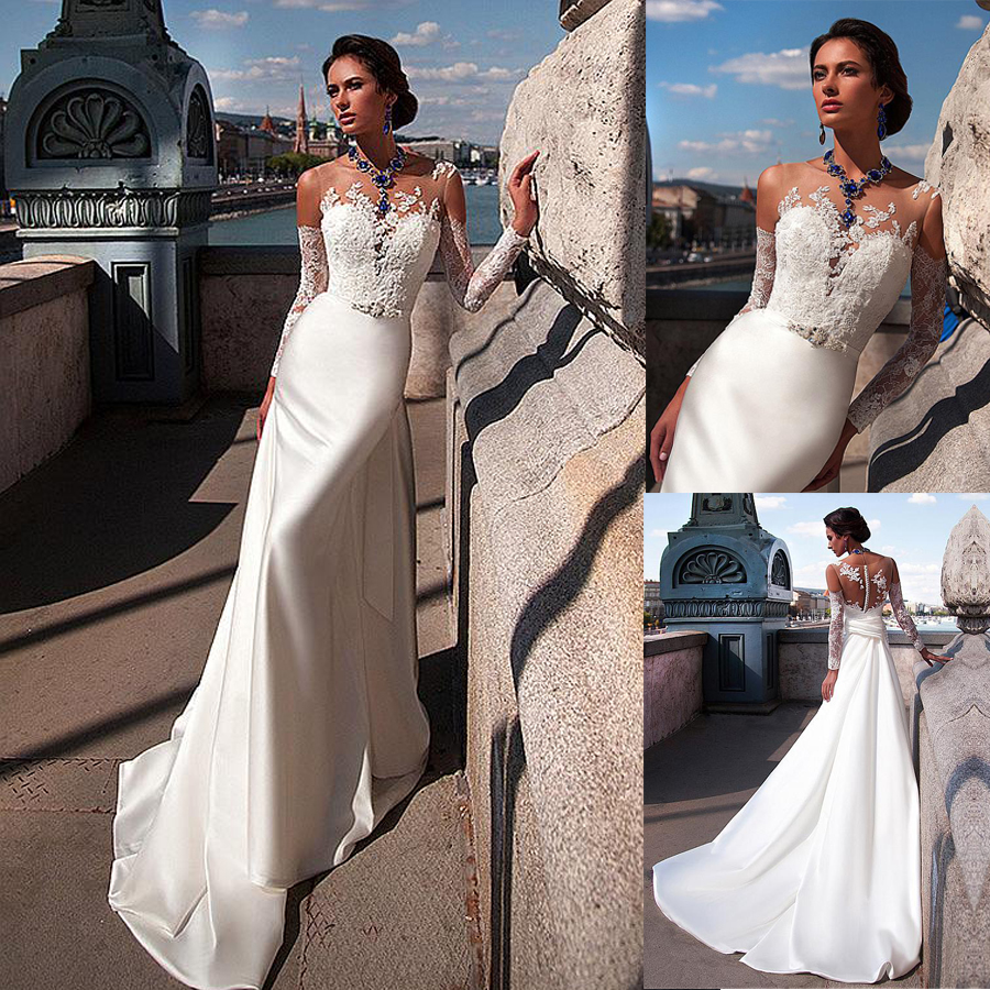Modest Tulle Bateau Neckline Mermaid Wedding Dresses With Lace Appliques Long Sleeves See Through Bridal Dresses
