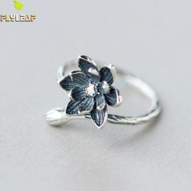 Flyleaf Brand 100 925 Sterling Silver Lotus Flower Rings For Women