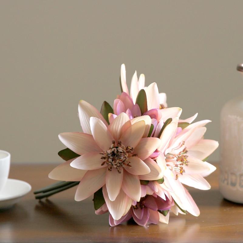슈퍼 아름다운 집 장식 디스플레이 가짜 꽃 테이블 장식 인공 연꽃 실크 꽃