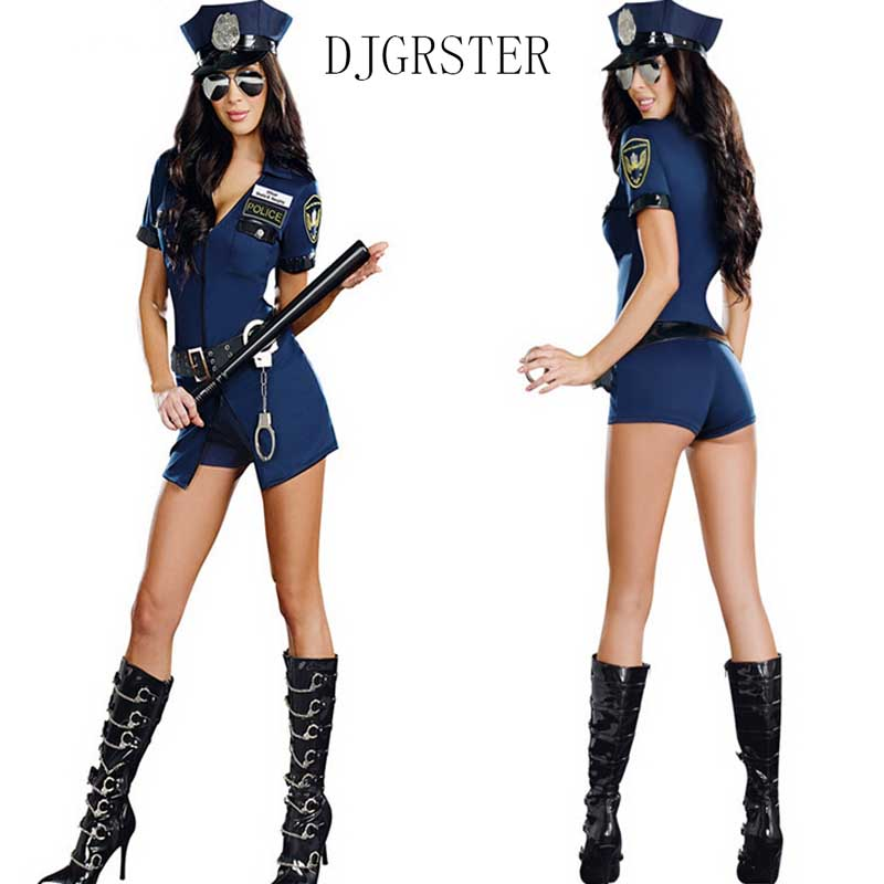 DJGRSTER Halloween Costumes For Women Police Cosplay Costume Sex Cop Uniform Sexy Policewomen Costume Outfit Prom Top+Shorts+Cap