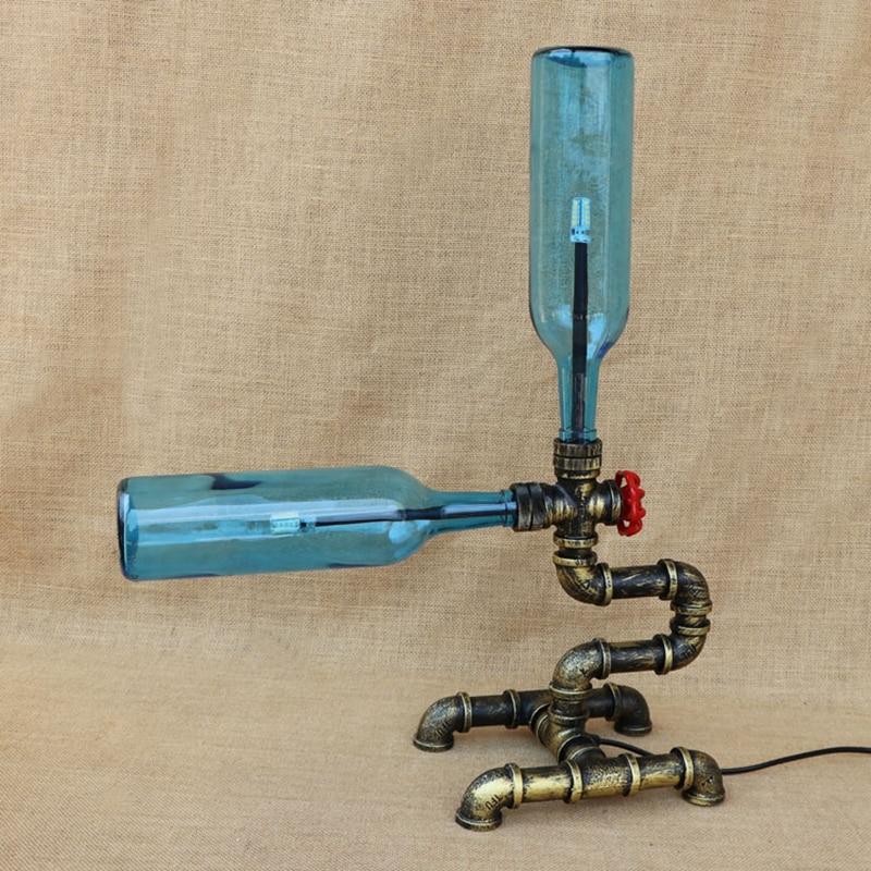 Винтаж стеклянная бутылка стол свет включают G4 лампочки livingroomtable лампы для прикроватная тумбочка для спальни офис исследование 220 В
