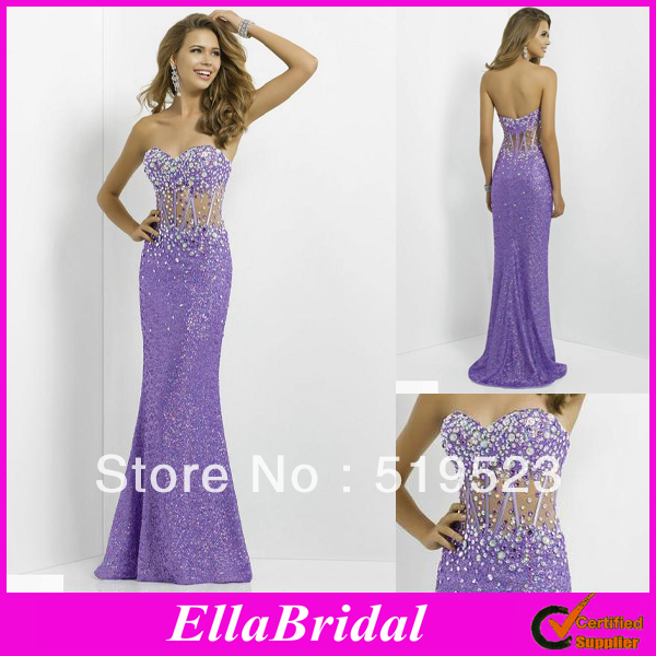 Stylish Sequined Purple Fabric Crystal Beaded Strapless Sweetheart ...