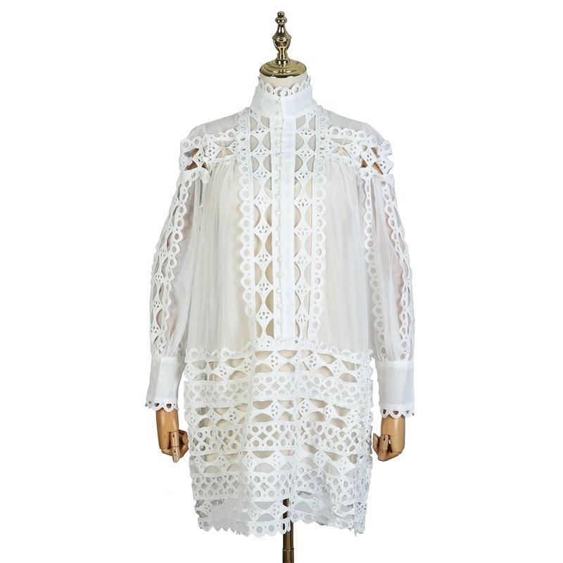 [LIVIVIO] Elegant Loose Lantern Long Sleeve White Black Mini Lace Shirt Dress 2019 Autumn Streetwear Sheer Two Piece Set Fashion