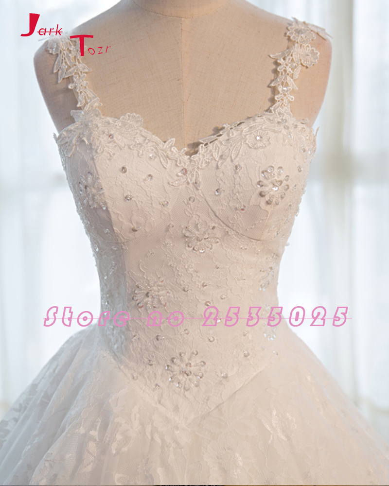 Jark Tozr New Spaghetti Straps Sweetheart Neck Gorgeous Appliques Lace Beading Chapel Train Wedding Dress 2018 Vestido Branco