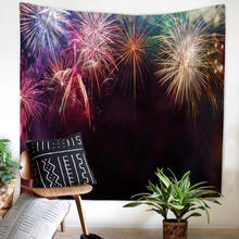 Large Size Cloth Art Wall Hanging Tapestry Picnic Mats Curtain Bed Sheets 3 Models Fireworks Wall Background Decor(China)