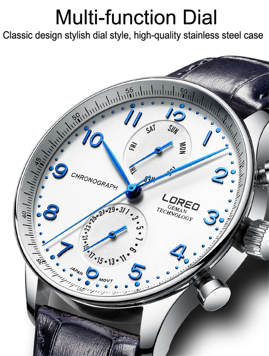 LOREO Swim Men Watches Top Brand Luxury Auto Date Hands Clock Man Business Casual Leather Strap Quartz Watch Male Waterproof 50M