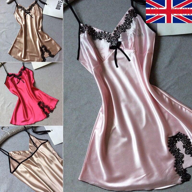 ff9d689ecdc01 US $5.23 |2018 New Brand Summer Women Ladies Sexy Lace Satin Lingerie  Sleepwear Night Gown Babydoll Slips Nightie Robe-in Full Slips from  Underwear & ...