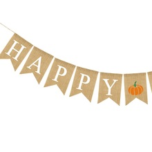 2019 HAPPY FALL Jute Burlap Banner Maple Leaves Pumpkin Autumn Festival Thanksgiving Day Mantel Fireplace Hanging Decorations