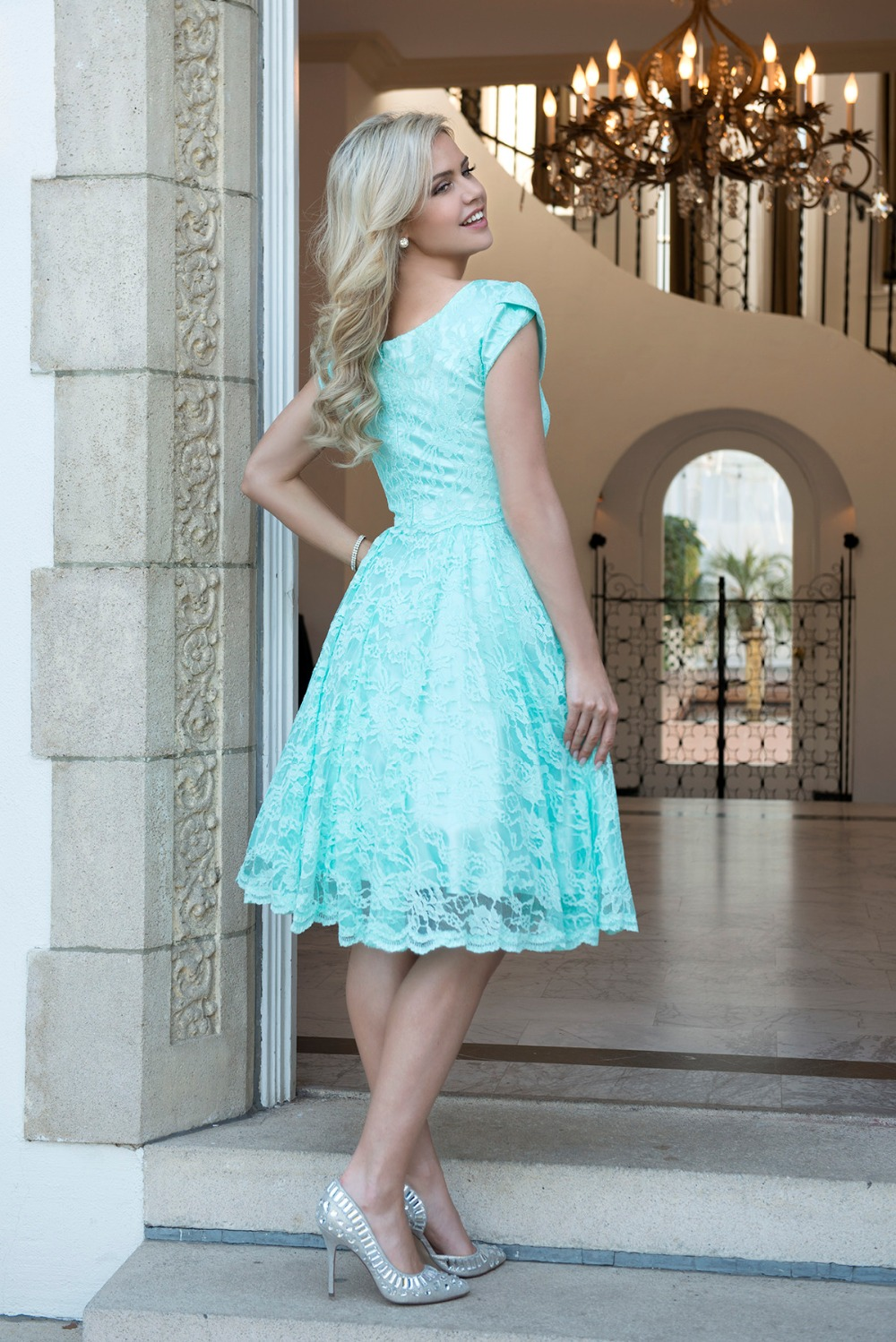 Cecelle 2016 Mint Vintage Short Lace Modest Bridesmaid Dresses Cap ...