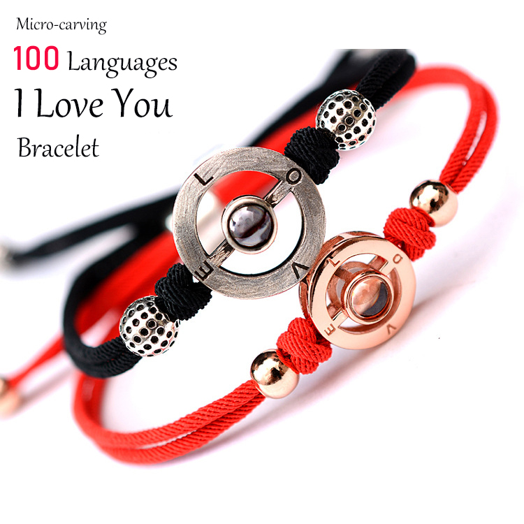 S925 Micro-Craving Projection 100 Languages I Love You Charm Bracelet Women Jewelry Hand-Made Romantic Rope Chain