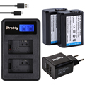 PROBTY 2 Pcs 2000 mAh NP-FW50 FW50 NP NPFW50 Bateria + USB LCD carregador duplo + 2-port plug para sony nex-3 nex-5c alpha a55 NEX-C3