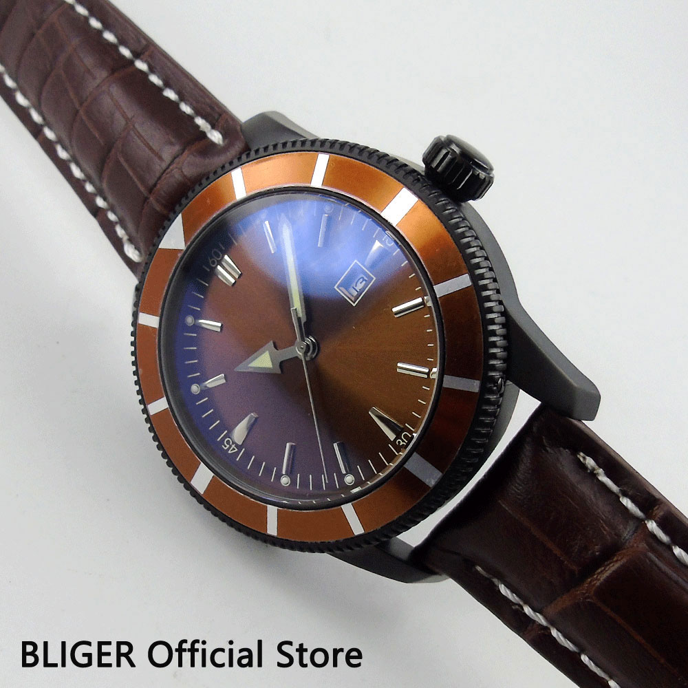 Fashion BLIGER 46MM Brown Dial Coffee Rotating Bezel Black PVD Case Leather MIYOTA Automatic Movement Men's Wrist Watch BI18