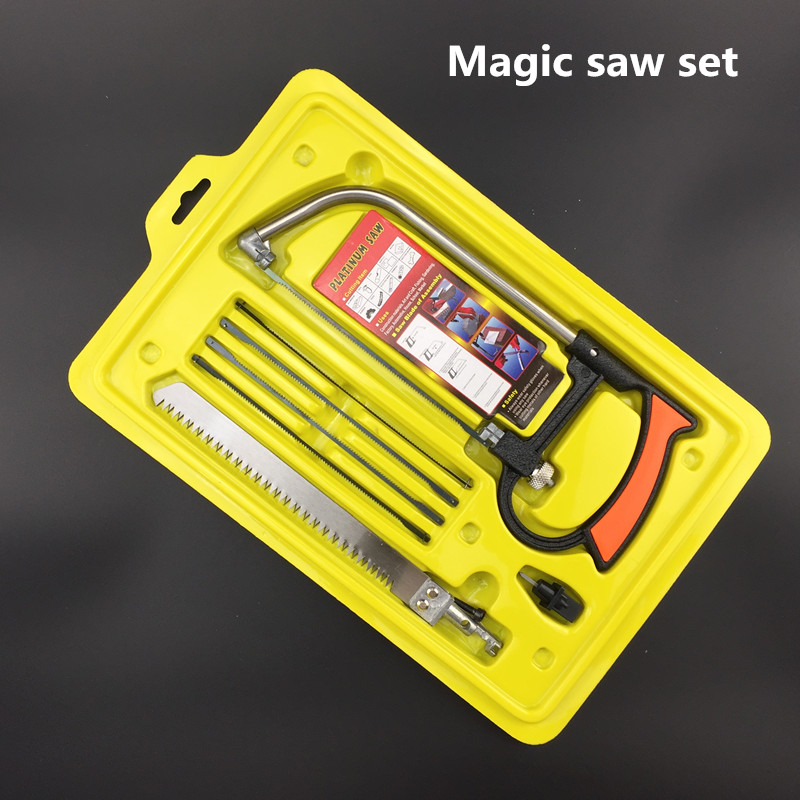 free shipping mini saw set magic saw blade tool multifunctional jig saw for woodworking outdoor garden survival  hand wood saw edc gear outdoor 6 slot design tool box with blade saw opener bar code sheet s carabiner