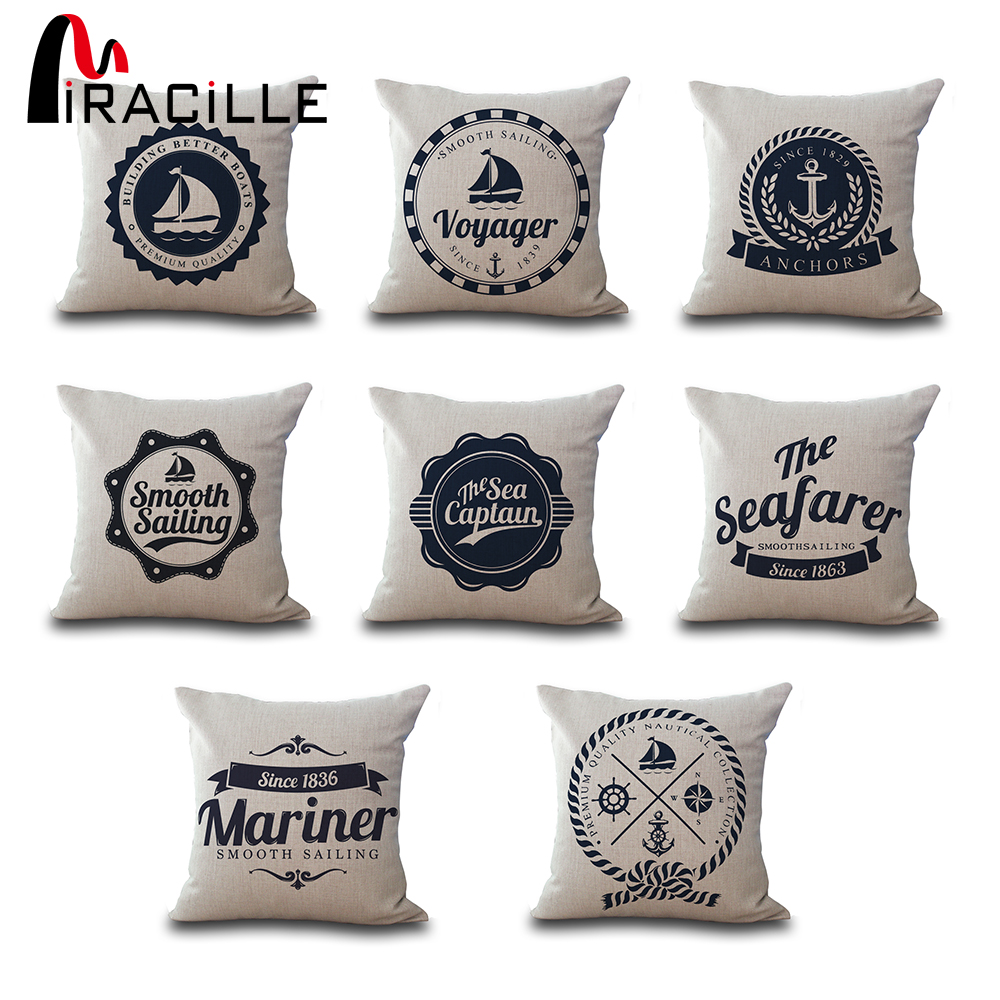 online get cheap nautical throw aliexpresscom  alibaba group - square  nautical anchor sailor sailing sofa throw pillows chair waistsoft cotton linen cushions