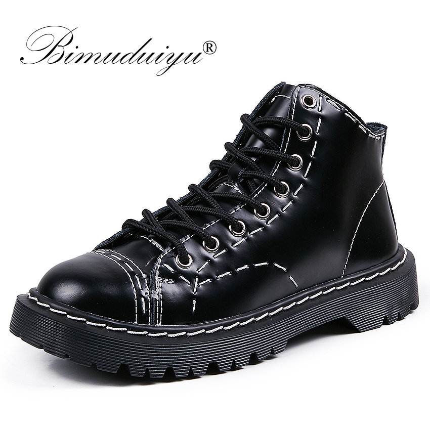 BIMUDUIYU Luxury Women Autumn Winter Ankle Boots Lace up Round Toe Women Short Boots British Style Flat Motorcycle Female Shoes wide calf designer slip on trend short harajuku shoes japanese flat women boots winter 2017 ankle autumn black lace up female