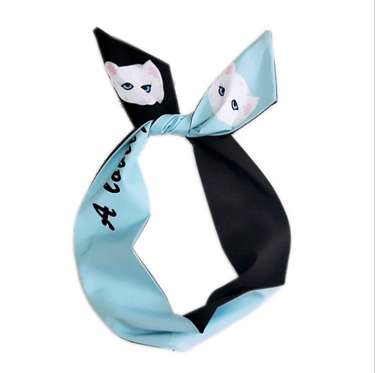 93cm Square Silky Women Scarf Cartoon Cat Small Bandana Fashion Print Foulard Cute Neck Wear NEW