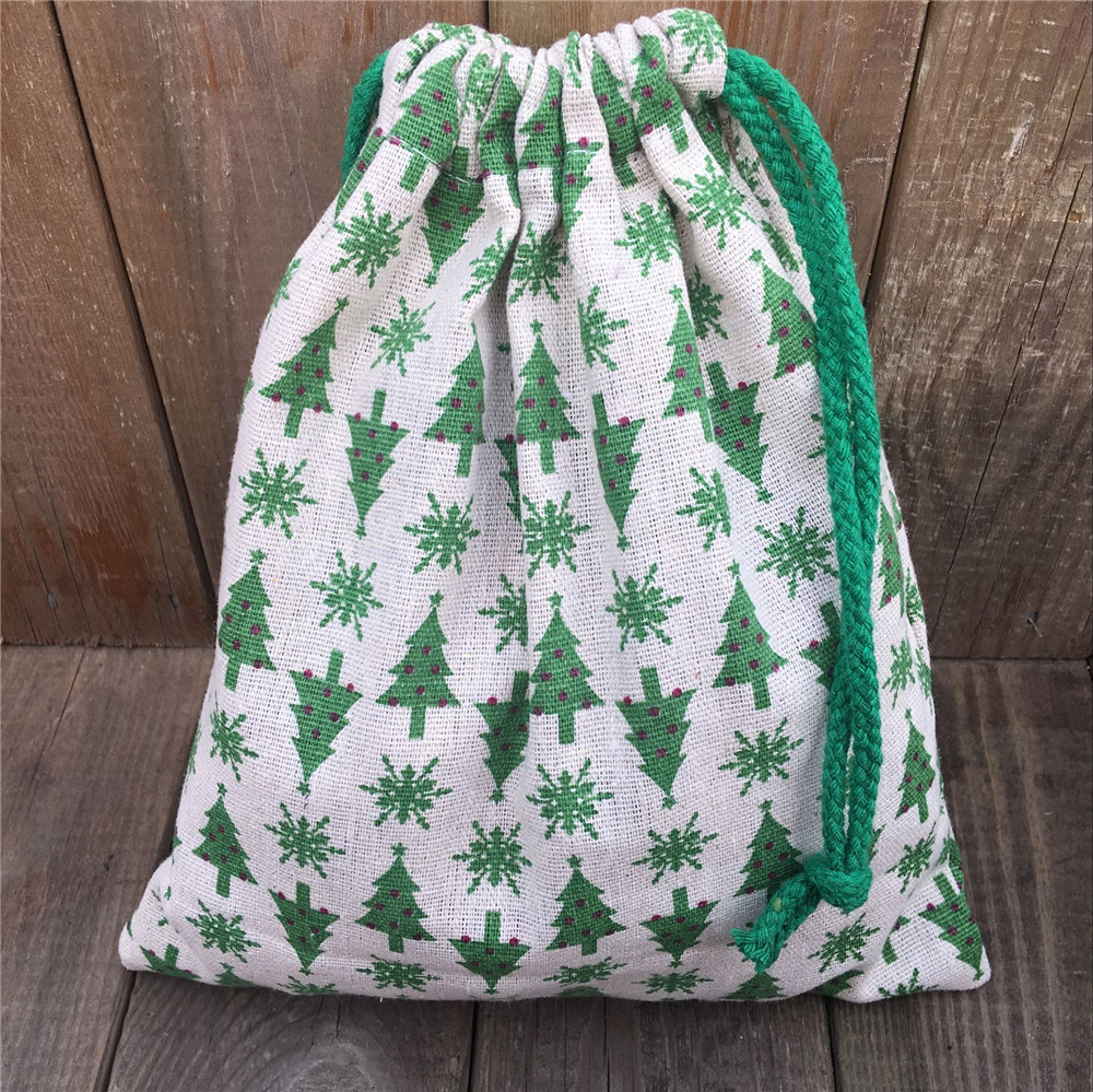 YILE 1pc Cotton Linen Drawstring Party Gift Bag Green Christmas Tree Snowflake N830e