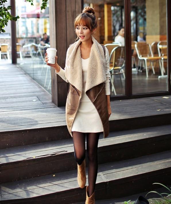 Tengo Autumn and Spring Slim Vest Women Brown Leather Vest Jacket Woman Imitation Ladies Coats Slim Waistcoat Vest