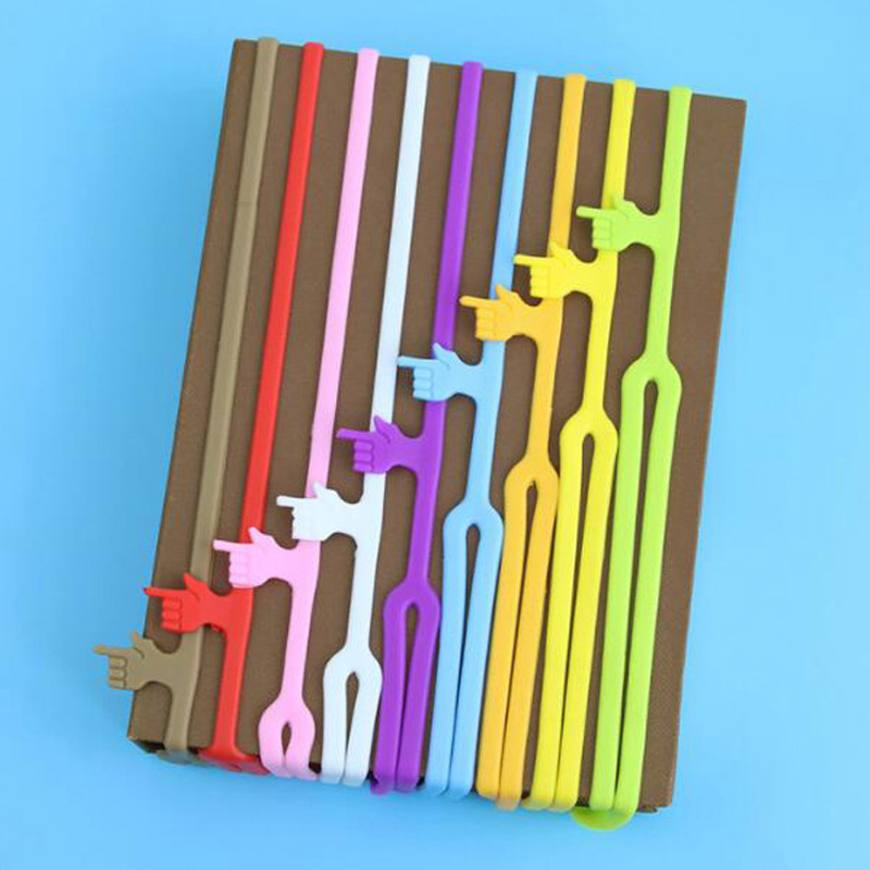Free Shipping 10pcs lot Hot Sale New Cute Silicone Finger Pointing Bookmark Colorful Book Mark Office Supply Funny Gift in Bookmark from Office School Supplies