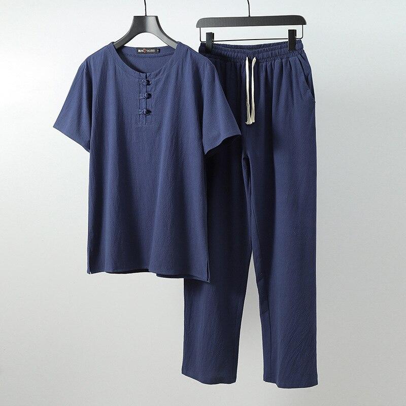 Мужские льняные Топы И Футболки, большие размеры, M 6xl, 7xl, 8xl, 9XL, футболка с круглым вырезом, мужские футболки, костюмы из двух предметов в китайском стиле
