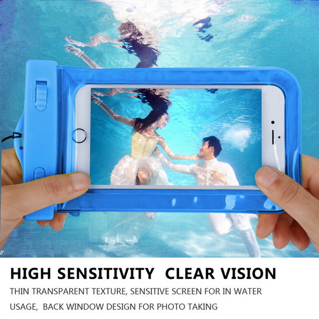 PVC Waterproof Phone Bag Underwater Luminous back cover For Huawei P7 P9 P8 lite MATE7 8 S horo 7 4 5 6 5X 4A Y625 Y6 Y5 II ><