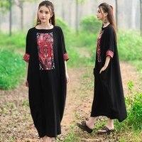 Summer Dress Mexican Women 2019 Vintage Long Maxi Dress Robe Vestidos Loose Sundress Cotton Linen Causal Print With Big Pocket