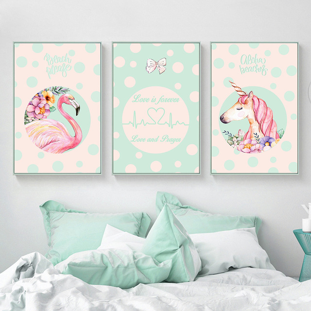 Girls gift unicorn flamingo canvas posters and prints minimalist painting wall art cavnas for Canvas prints childrens bedrooms