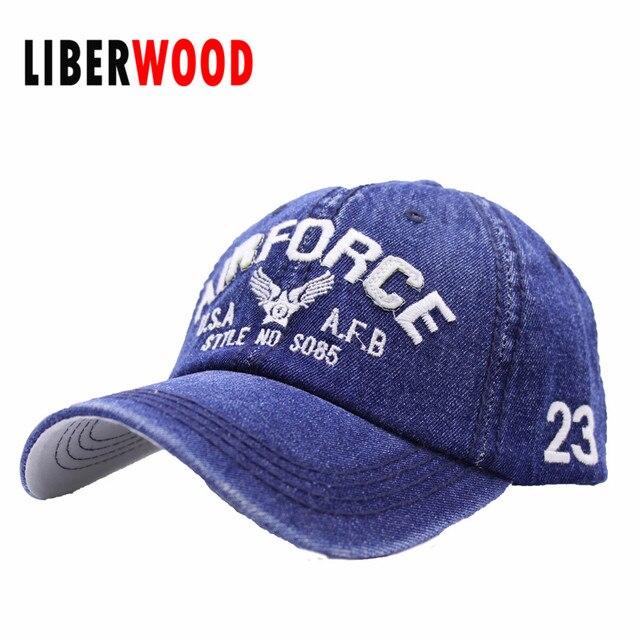 479698196bf United States US Airforce men women denim baseball cap USA America AFB Denim  Jean cap hat