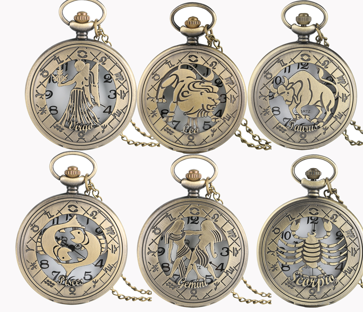 Antique Twelve Constellations Theme Pocket Watch Unisex Copper Hollow Pendant Chain Gemini Leo Scorpio Quartz Clock