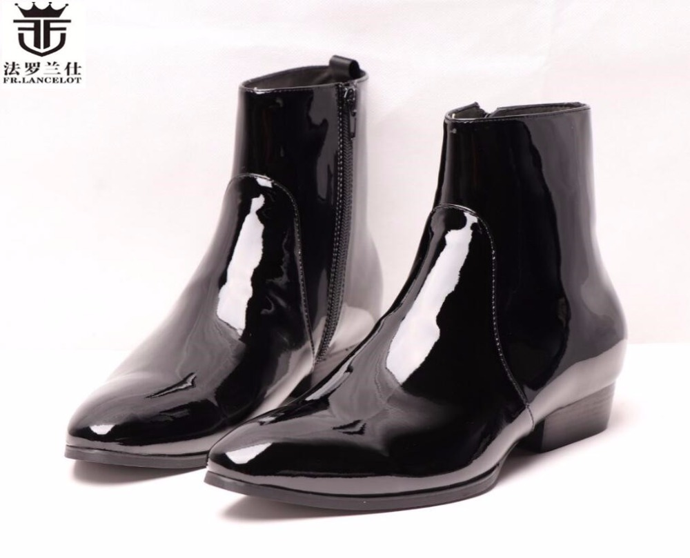 2018 FR.LANCELOT hot style new arrival men black short boot zip fashion trend chelsea boots real leather pointed toe boots men цена 2017