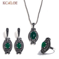 KCALOE Ancient Silver Color Crystal Rhinestone Necklaces Rings And Earrings Women Jewelry Set Oval Green Jewellery Sets Party