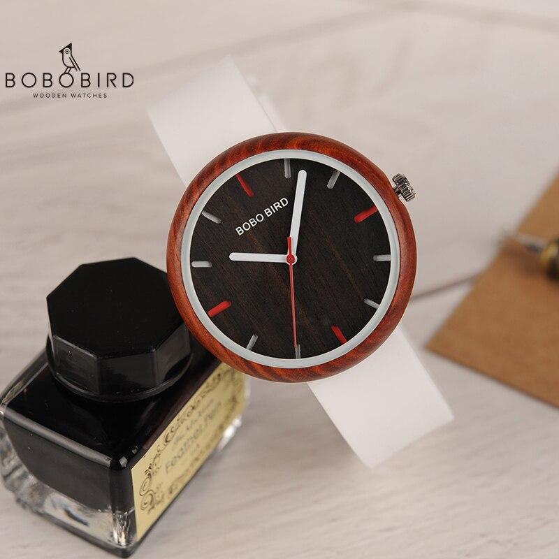 Reloj Mujer BOBO BIRD Women Watch Wood Silicone Band Quartz Wristwatches Bayan Kol Saati With Gift Box Accept Dropshipping V-R28