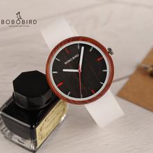 Reloj mujer BOBO ptak kobiety zegarek zegarek z drewna silikon kompania Quartz zegarki na rękę bajan kol saati z szkatułce zaakceptować Dropshipping V-R28 tanie tanio Nie wodoodporne Klamra Proste Drewniane Papier Brak 41 5mm Hardlex 19 5 cm 12 5mm 17 5mm Okrągły