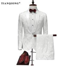 TIAN QIONG Suit Men 2017 Latest Coat Pant Designs White Wedding Tuxedos for Men Slim Fit Mens Printed Suits Brand Men Clothing