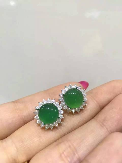 natural green chalcedony drop earrings 925 silver Natural gemstone drop earring personality Luxury Square Women jewelry