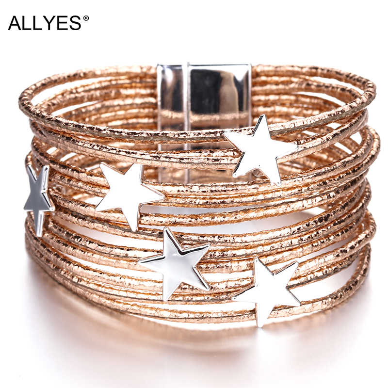 Allyes Bohemian Leather Gelang untuk Wanita 2019 Fashion Pentagram Metal Pesona BoHo Multilayer Gelang Femme Perhiasan