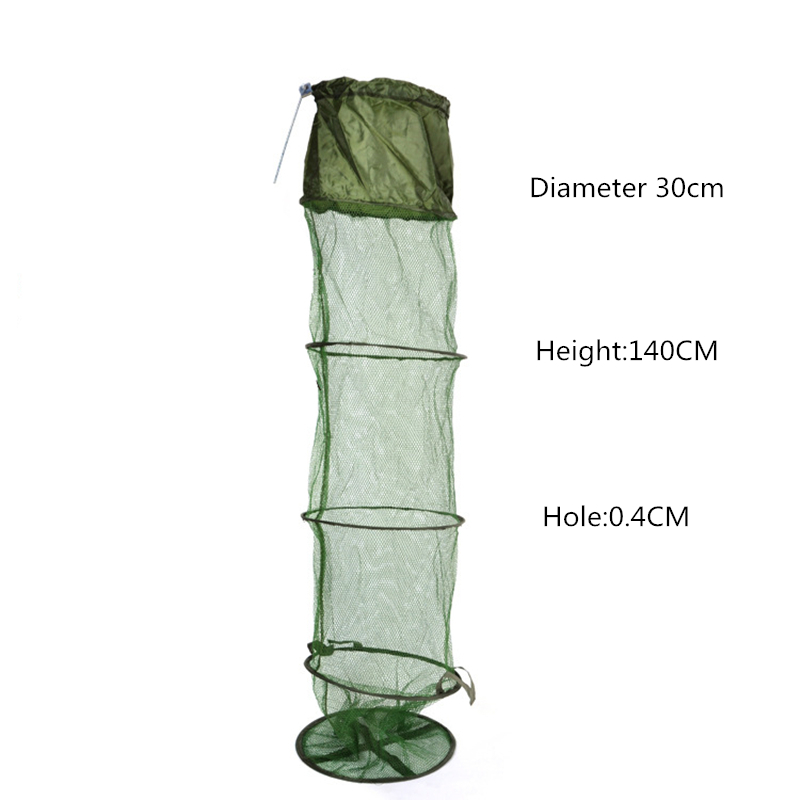 4mm Pores Army Green Folding Shrimp Cage Fishing Net Fishing Tackle